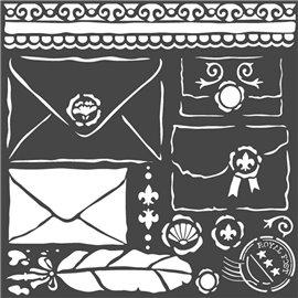 Pochoir décoratif Stamperia letters 18x18cm