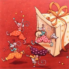 Carte postale Colette Reydet souris sortent du cadeau