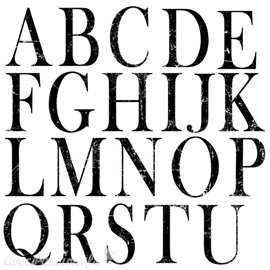 Tampons IOD Clear Stamps Typesetting 2 plaques alphabet