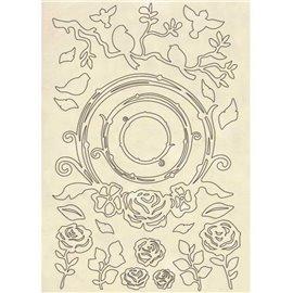 Chipboard en bois silhouettes entaillées guirlande de roses