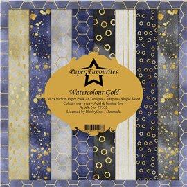 Papier scrapbooking assortiment Dixi Craft Paper Favourites watercolour gold 30x30 8fe