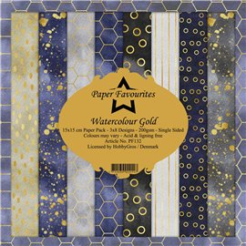 Papier scrapbooking assortiment Dixi Craft Paper Favourites watercolour gold 15x15 24fe