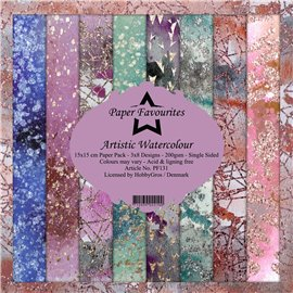 Papier scrapbooking assortiment Dixi Craft Paper Favourites artistic watercolour 15x15 24fe