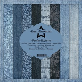 Papier scrapbooking assortiment Dixi Craft Paper Favourites denim textures 15x15 24fe
