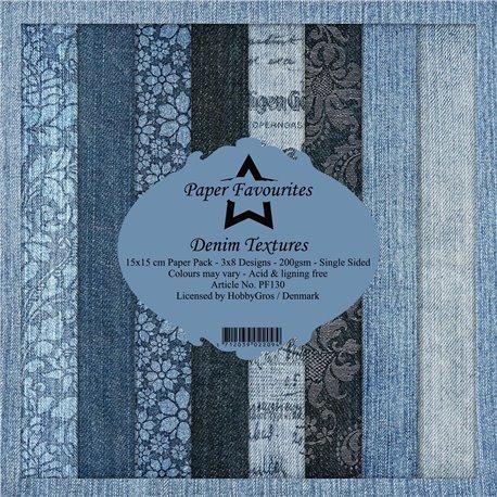 Papier scrapbooking assortiment Dixi Craft Paper Favourites denim textures 15x15 24fe