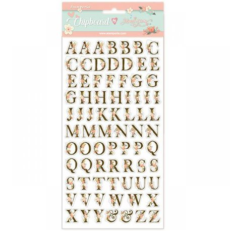 Chipboard achésif en carton alphabet