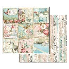 Papier scrapbooking réversible Stamperia wonderland papillons et licorne 30x30
