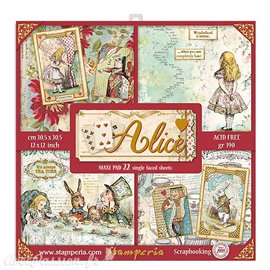 Papier scrapbooking assortiment Stamperia alice 22f 30x30