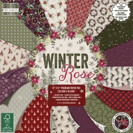 Papier scrapbooking assortiment winter rose bloc 48fe 30x30