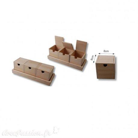 Ensemble en bois avec 3 boîtes 26,5x10x8,5cm