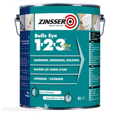 Primaire surface lisse non poreuse int/ext 1l Zinsser Bull Eye 123 PLUS