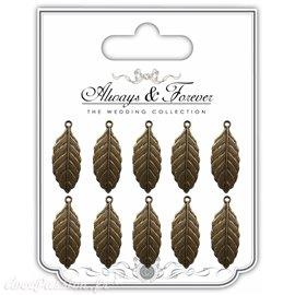 Embellissements métal vintage 10 feuilles dorées vieillies