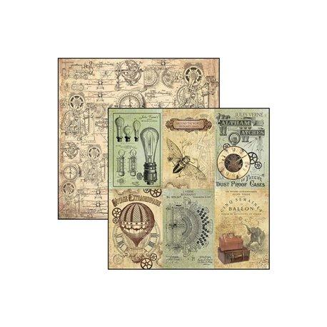 Papier scrapbooking réversible Ciao Bella cartes jules verne 30x30