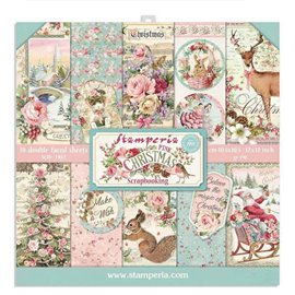 Papier scrapbooking assortiment Stamperia pink christmas 10f recto verso 30x30