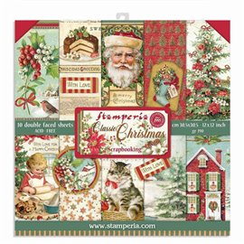 Papier scrapbooking assortiment Stamperia classic christmas 10f recto verso 30x30