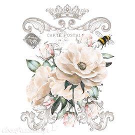 Décalcomanie Transfert pelliculable Fleur Frisee 28x38cm
