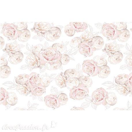 Décalcomanie Transfert pelliculable Jardin de Roses 89x59cm