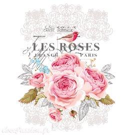 Décalcomanie Transfert pelliculable Les Roses 28x37cm