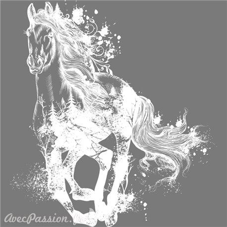 Décalcomanie Transfert pelliculable Majestic Horse blanc 57x63cm