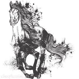 Décalcomanie Transfert pelliculable Majestic Horse taupe 57x63cm