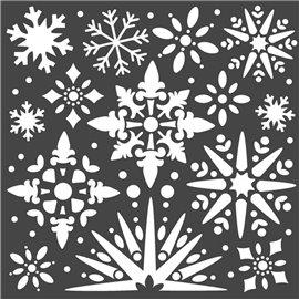 Pochoir décoratif Stamperia flocon de neige 18x18cm