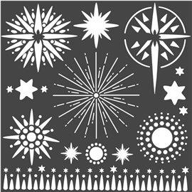 Pochoir décoratif Stamperia étoiles 18x18cm