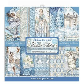 Papier scrapbooking assortiment Stamperia winter tales 10f recto verso 30x30