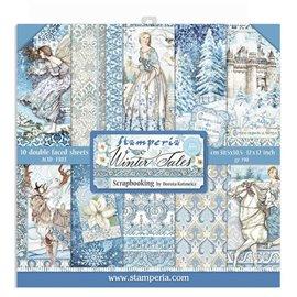 Papier scrapbooking assortiment Stamperia contes d'hiver 10f recto verso 30x30