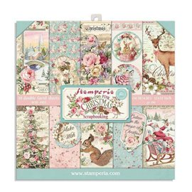 Papier scrapbooking assortiment Stamperia 10f recto verso 20x20 pink christmas