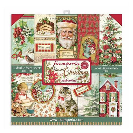 Papier scrapbooking assortiment Stamperia 10f recto verso 20x20 classic christmas