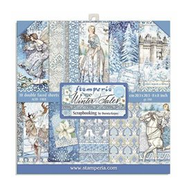 Papier scrapbooking assortiment Stamperia 10f recto verso 20x20 contes d'hiver