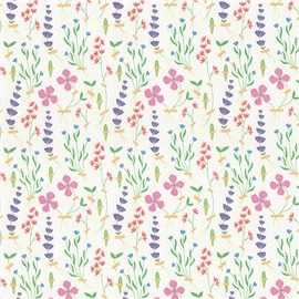 Papier italien motifs fleurs des champs fond blanc