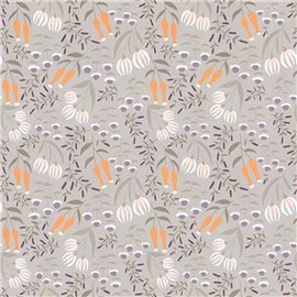 Papier italien motifs fleurs fond gris
