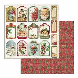 Papier scrapbooking réversible Stamperia doube face 30x30 tags étiquette cadeaux noël