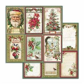 Papier scrapbooking réversible Stamperia doube face 30x30 cartes de noël