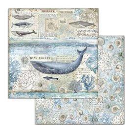 Papier scrapbooking réversible Stamperia doube face 30x30 baleine