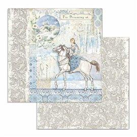 Papier scrapbooking réversible Stamperia doube face 30x30 cheval
