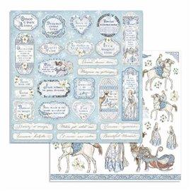 Papier scrapbooking réversible Stamperia doube face 30x30 tags et cadres