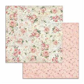 Papier scrapbooking réversible Stamperia doube face 30x30 roses