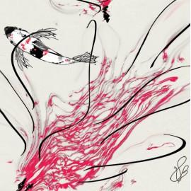 Carte d'art Valie Le Boeuf Carpe Koï