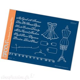 Groovi gabarit traçage parcheminfeminine corset - A5 SQUARE GROOVI PLATE
