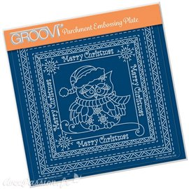 Groovi gabarit traçage parchemin LINDA WILLIAMS CHRISTMAS SNOWFLAKE OWL