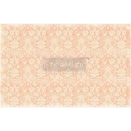 Papier de murier mulberry imprimé Redesign 48x76cm Peach Damask