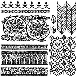 Tampons IOD Clear Stamps Floral Swags 30x30cm 8 pièces