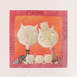Carte postale chat jolie petite famille