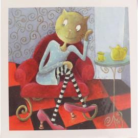 Carte postale chat l'heure du thé