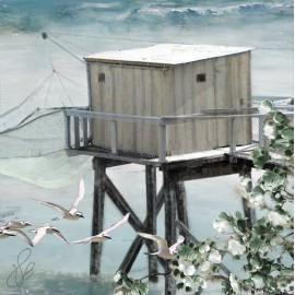 Carte d'art Valie Le Boeuf Cabane de pêcheur