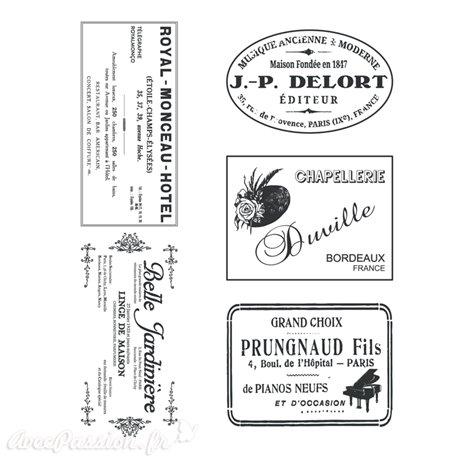 Transfert pelliculable Amatxi fabrication française Etiquettes vintage A4 5 motifs