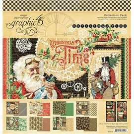 Papier scrapbooking assortiment Graphic 45 Christmas Time 30x30 16fe