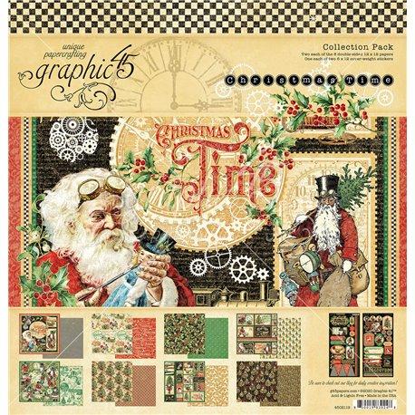 Papier scrapbooking assortiment Graphic 45 Christmas Time 30x30 16fe